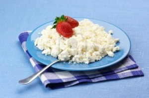 9950519-cottage-cheese-with-strawberries-and-cream-in-blue-plate-with-checked-napkin-on-blue-tablecloth